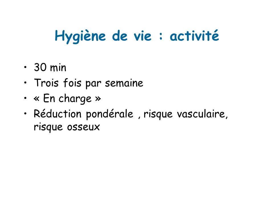 Hygiène de vie : activité 30 min Trois fois par semaine « En charge » Réduction pondérale, risque vasculaire, risque osseux