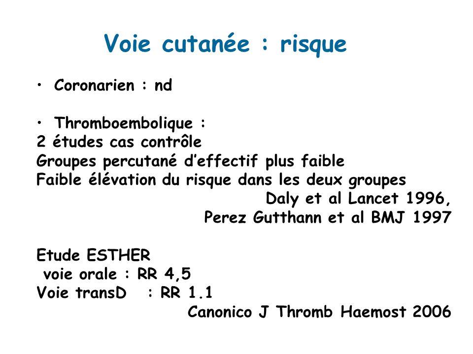 Voie cutanée : risque Coronarien : nd Thromboembolique : 2 études cas contrôle Groupes percutané deffectif plus faible Faible élévation du risque dans les deux groupes Daly et al Lancet 1996, Perez Gutthann et al BMJ 1997 Etude ESTHER voie orale : RR 4,5 Voie transD : RR 1.1 Canonico J Thromb Haemost 2006