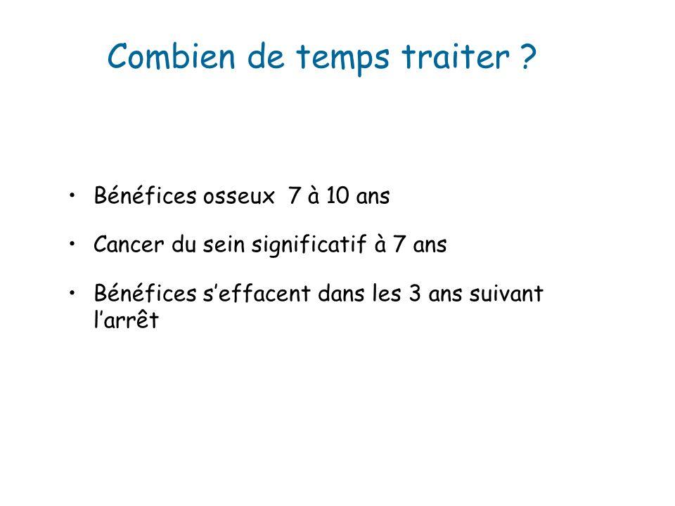 Bénéfices osseux 7 à 10 ans Cancer du sein significatif à 7 ans Bénéfices seffacent dans les 3 ans suivant larrêt Combien de temps traiter ?