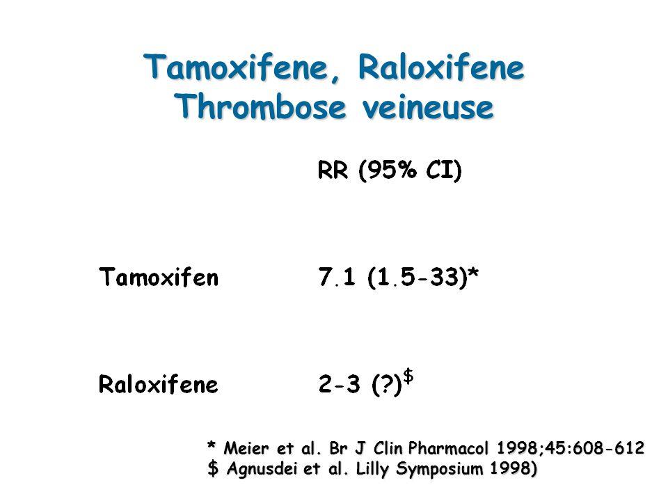 Tamoxifene, Raloxifene Thrombose veineuse * Meier et al.