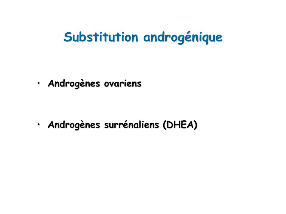 Substitution androgénique Androgènes ovariensAndrogènes ovariens Androgènes surrénaliens (DHEA)Androgènes surrénaliens (DHEA)