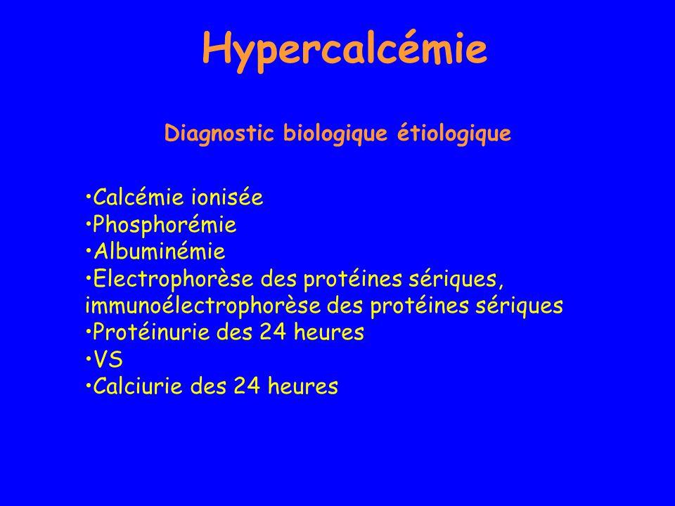 Hypercalcémie Calcémie ionisée Phosphorémie Albuminémie Electrophorèse des protéines sériques, immunoélectrophorèse des protéines sériques Protéinurie