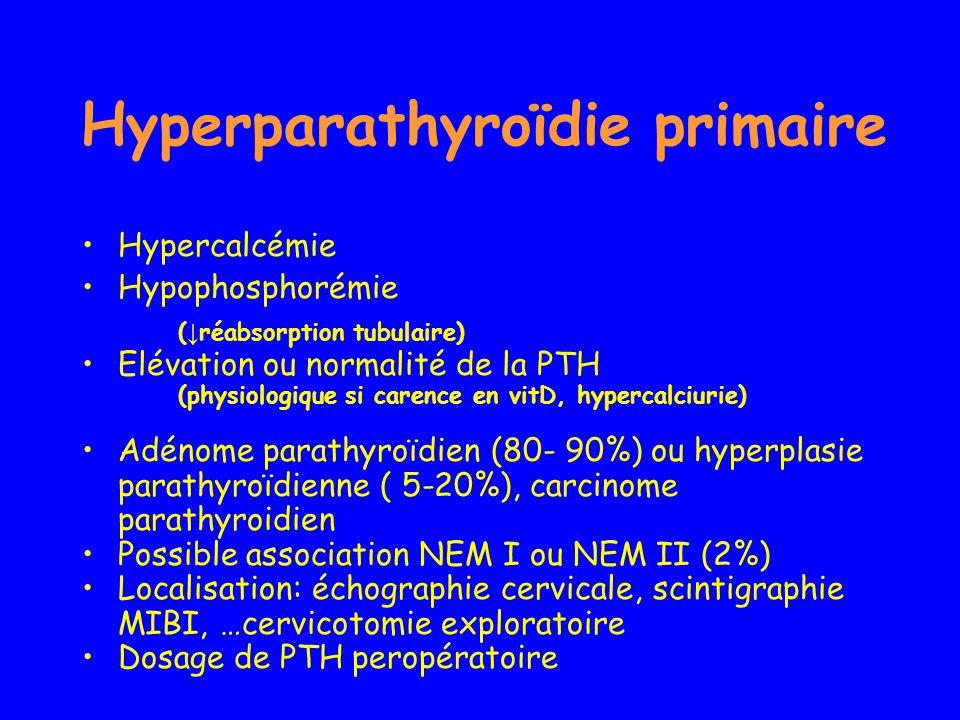 Hyperparathyroïdie primaire Hypercalcémie Hypophosphorémie ( réabsorption tubulaire) Elévation ou normalité de la PTH (physiologique si carence en vit