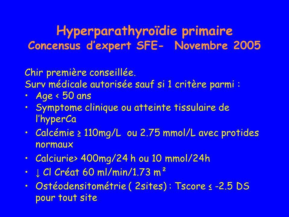 Hyperparathyroïdie primaire Concensus dexpert SFE- Novembre 2005 Chir première conseillée. Surv médicale autorisée sauf si 1 critère parmi : Age < 50