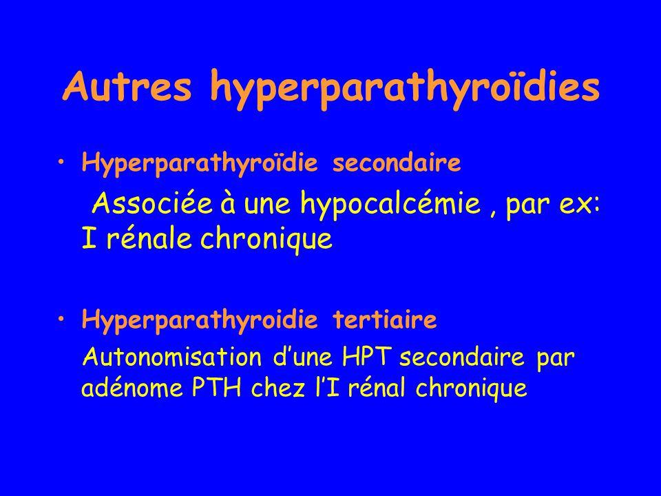 Autres hyperparathyroïdies Hyperparathyroïdie secondaire Associée à une hypocalcémie, par ex: I rénale chronique Hyperparathyroidie tertiaire Autonomi