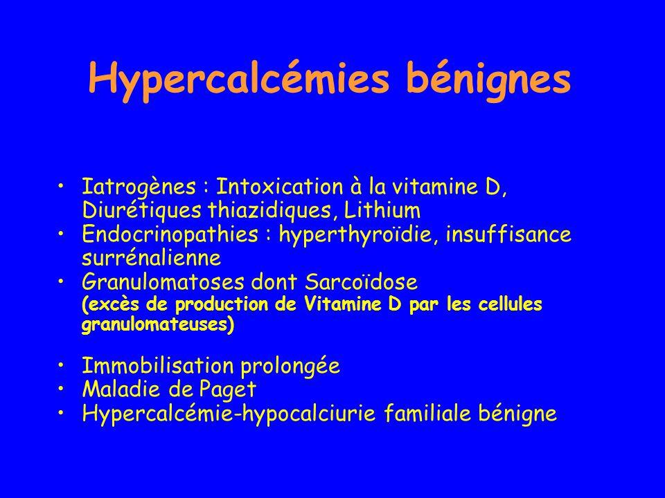 Hypercalcémies bénignes Iatrogènes : Intoxication à la vitamine D, Diurétiques thiazidiques, Lithium Endocrinopathies : hyperthyroïdie, insuffisance s