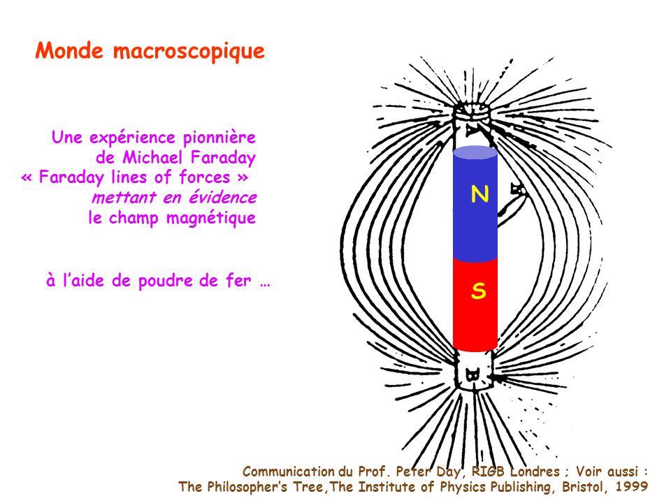 Une expérience pionnière de Michael Faraday « Faraday lines of forces » mettant en évidence le champ magnétique N S Communication du Prof. Peter Day,