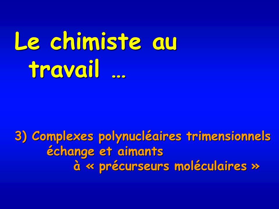 Le chimiste au travail … 3) Complexes polynucléaires trimensionnels échange et aimants échange et aimants à « précurseurs moléculaires » à « précurseurs moléculaires »