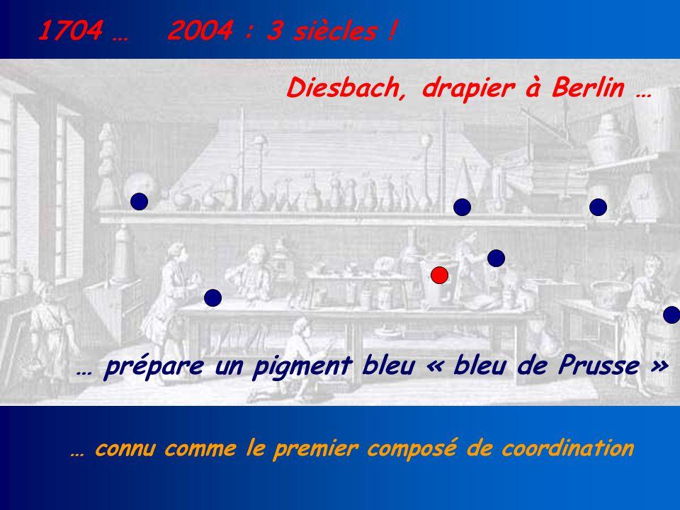 1704 … Diesbach, drapier à Berlin … … prépare un pigment bleu « bleu de Prusse » … connu comme le premier composé de coordination 2004 : 3 siècles !