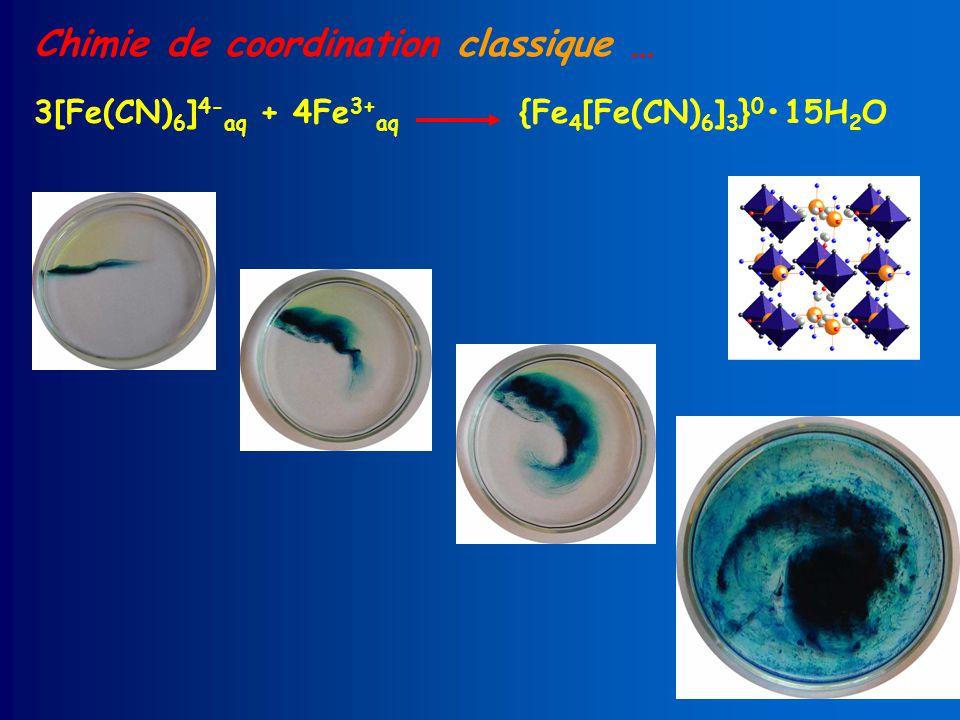 Chimie de coordination classique … 3[Fe(CN) 6 ] 4- aq + 4Fe 3+ aq {Fe 4 [Fe(CN) 6 ] 3 } 0 15H 2 O