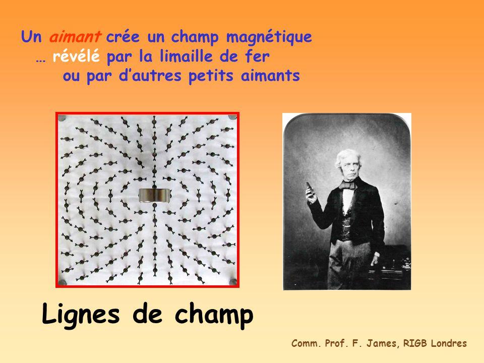 Un aimant crée un champ magnétique … révélé par la limaille de fer ou par dautres petits aimants Lignes de champ Comm. Prof. F. James, RIGB Londres