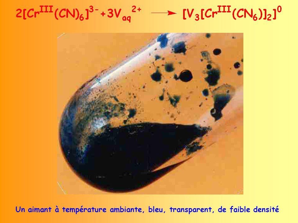 Un aimant à température ambiante, bleu, transparent, de faible densité