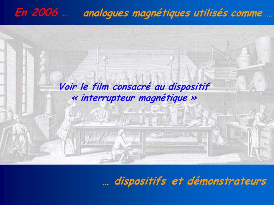 En 2006 … analogues magnétiques utilisés comme … … dispositifs et démonstrateurs Voir le film consacré au dispositif « interrupteur magnétique »
