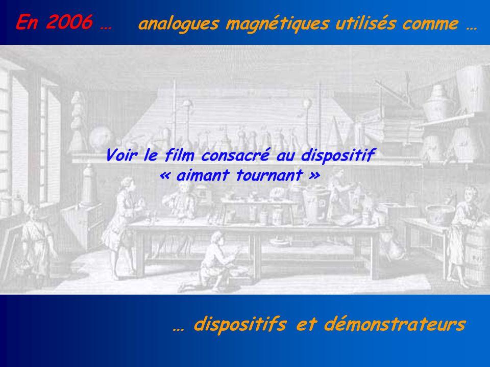 En 2006 … analogues magnétiques utilisés comme … … dispositifs et démonstrateurs Voir le film consacré au dispositif « aimant tournant »