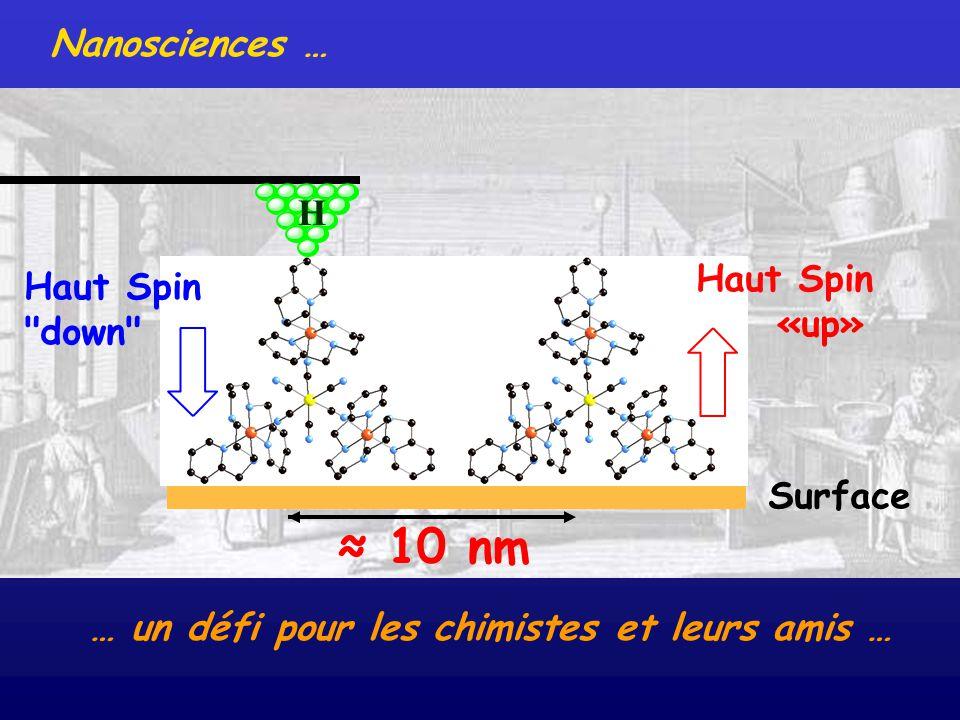 Nanosciences … … un défi pour les chimistes et leurs amis … Surface H 10 nm Haut Spin «up» Haut Spin
