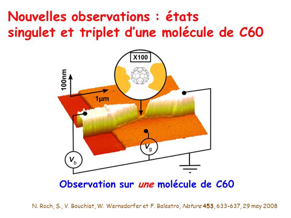 Observation sur une molécule de C60 Nouvelles observations : états singulet et triplet dune molécule de C60 N. Roch, S., V. Bouchiat, W. Wernsdorfer e