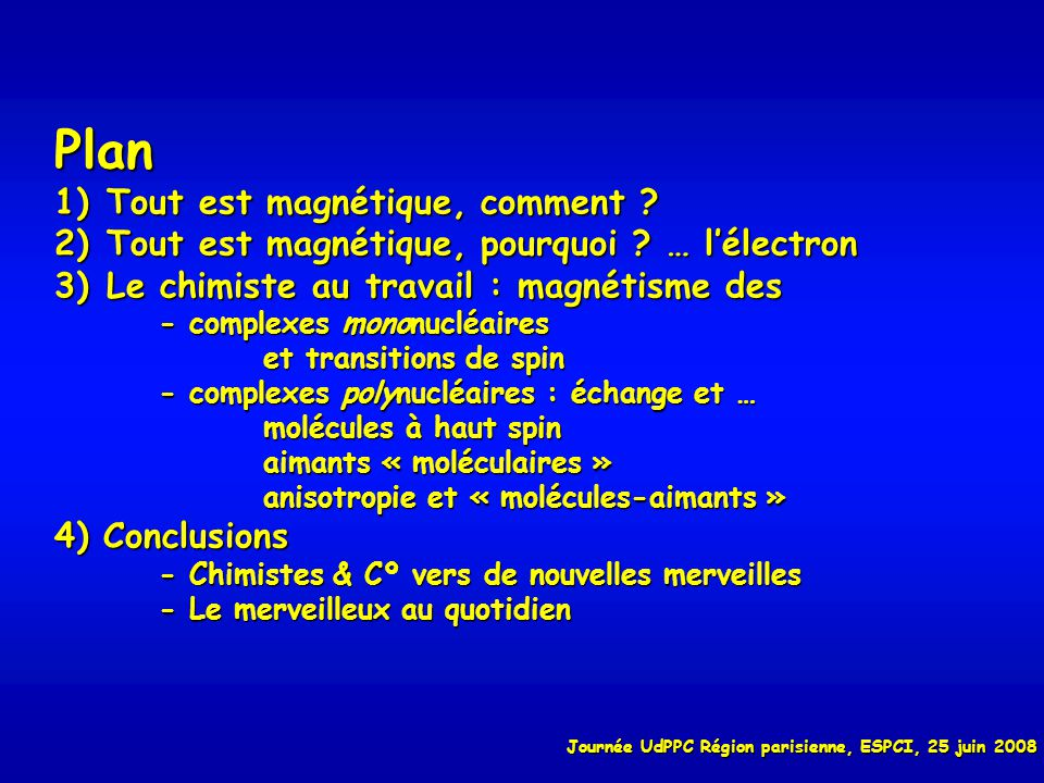 Une manifestation indirecte de la présence d électrons célibataires : la couleur des complexes