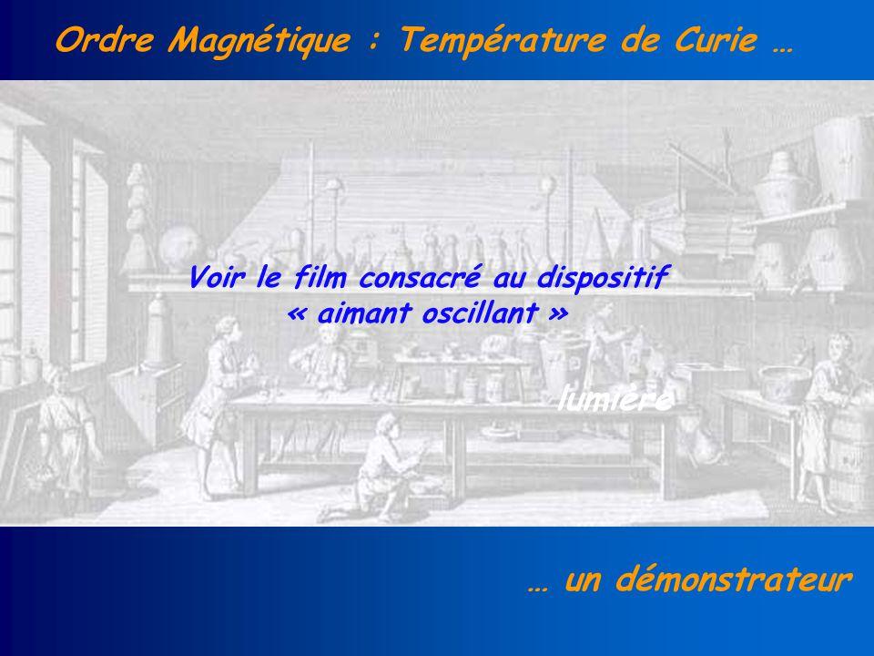 Ordre Magnétique : Température de Curie … … un démonstrateur lumière Voir le film consacré au dispositif « aimant oscillant »
