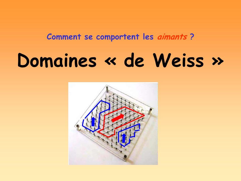 Domaines « de Weiss » Comment se comportent les aimants ?