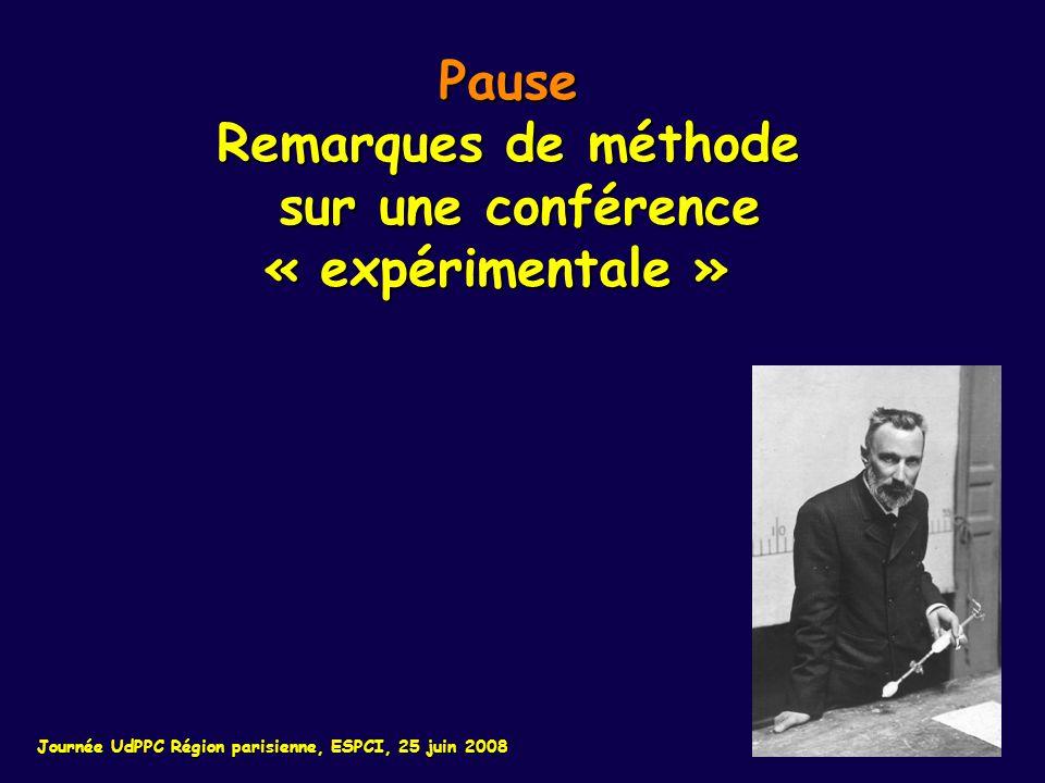 Pause Remarques de méthode sur une conférence sur une conférence« expérimentale » Journée UdPPC Région parisienne, ESPCI, 25 juin 2008