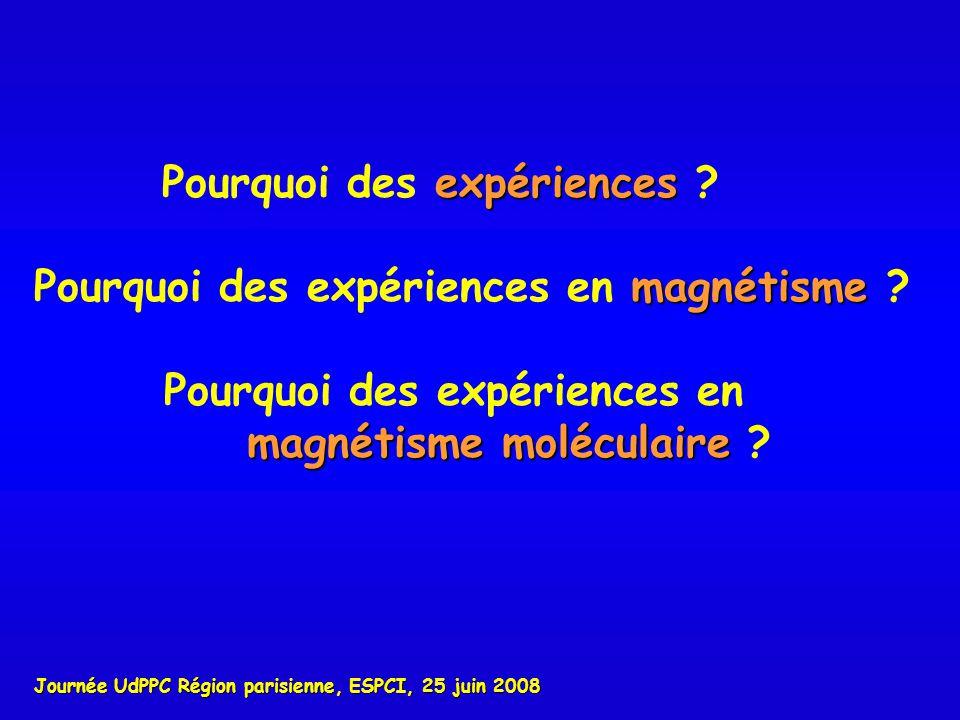 expériences Pourquoi des expériences ? Journée UdPPC Région parisienne, ESPCI, 25 juin 2008 magnétisme Pourquoi des expériences en magnétisme ? Pourqu
