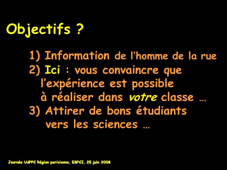 Objectifs ? 1) Information de lhomme de la rue 2) Ici : vous convaincre que lexpérience est possible à réaliser dans votre classe … 3) Attirer de bons