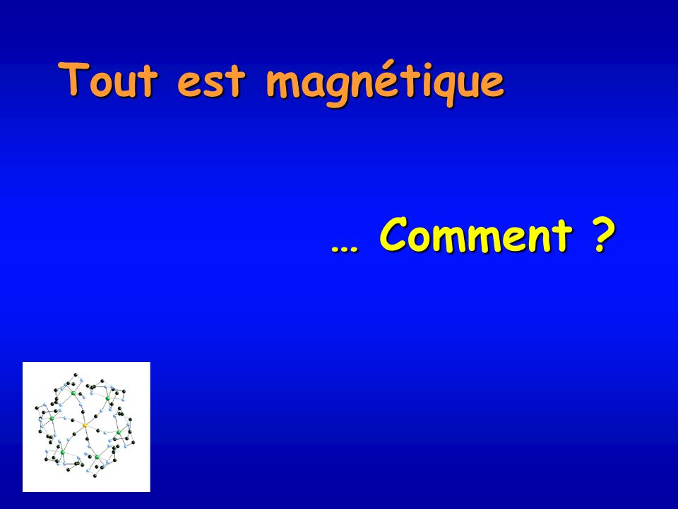Les molécules sont souvent considérées comme des créatures isolées, non magnétiques … Dihydrogène Diamagnétique Spin S = 0