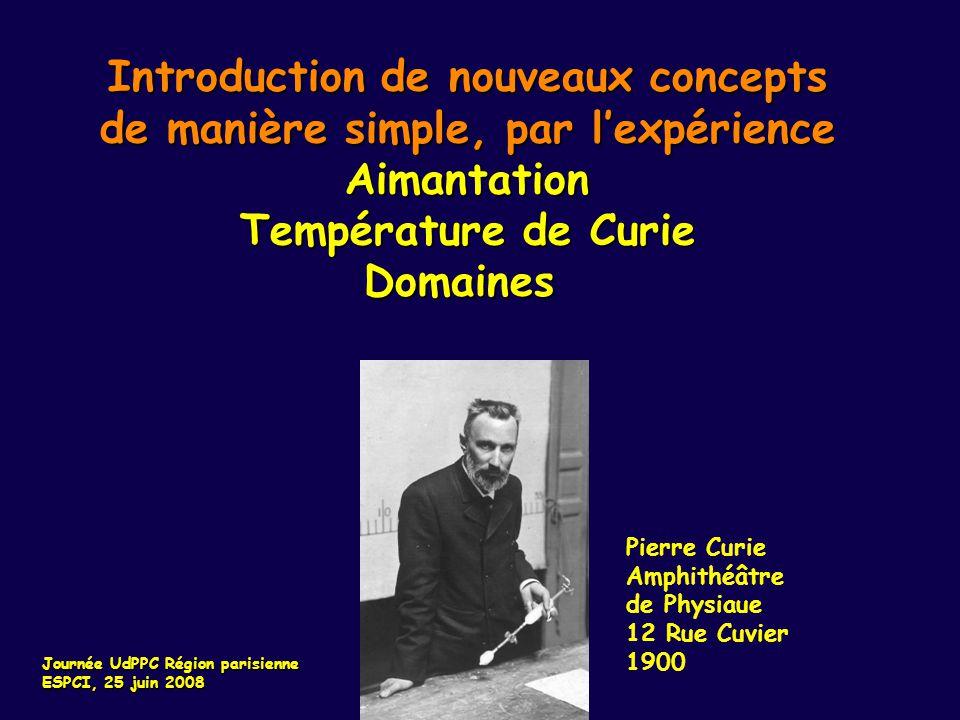 Introduction de nouveaux concepts de manière simple, par lexpérience Aimantation Température de Curie Domaines Pierre Curie Amphithéâtre de Physiaue 1