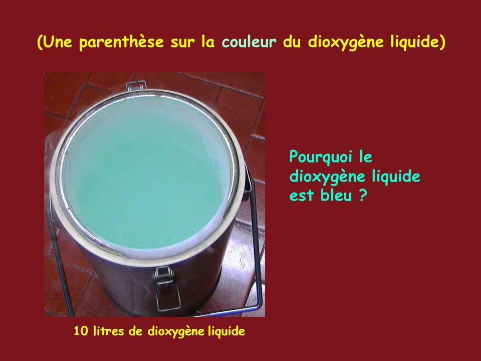 (Une parenthèse sur la couleur du dioxygène liquide) 10 litres de dioxygène liquide Pourquoi le dioxygène liquide est bleu ?