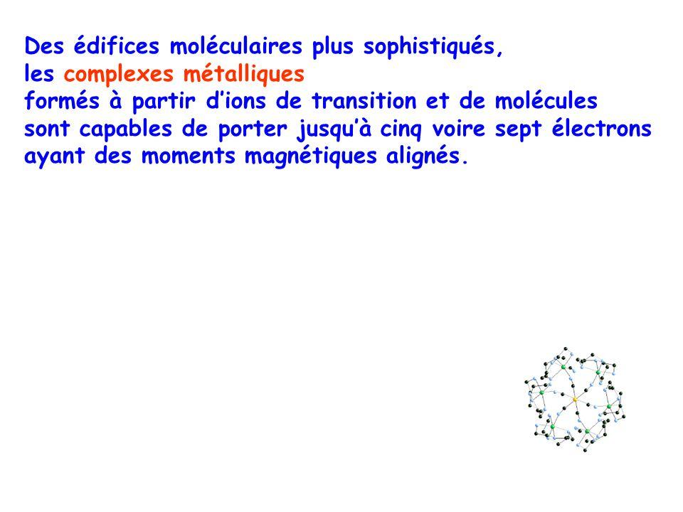 Des édifices moléculaires plus sophistiqués, les complexes métalliques formés à partir dions de transition et de molécules sont capables de porter jus