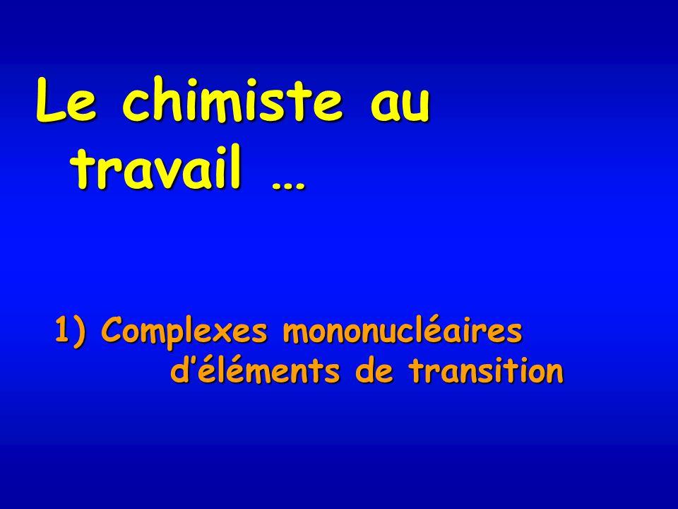 Le chimiste au travail … 1) Complexes mononucléaires déléments de transition déléments de transition