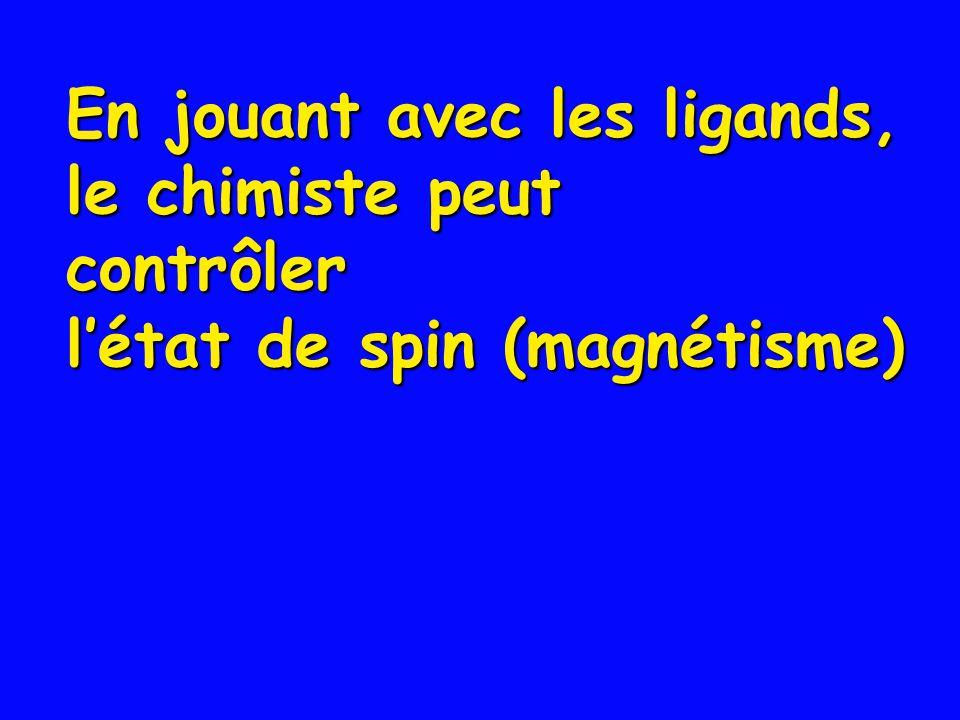 En jouant avec les ligands, le chimiste peut contrôler létat de spin (magnétisme)