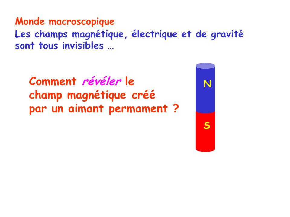 N S Monde macroscopique Les champs magnétique, électrique et de gravité sont tous invisibles … Comment révéler le champ magnétique créé par un aimant