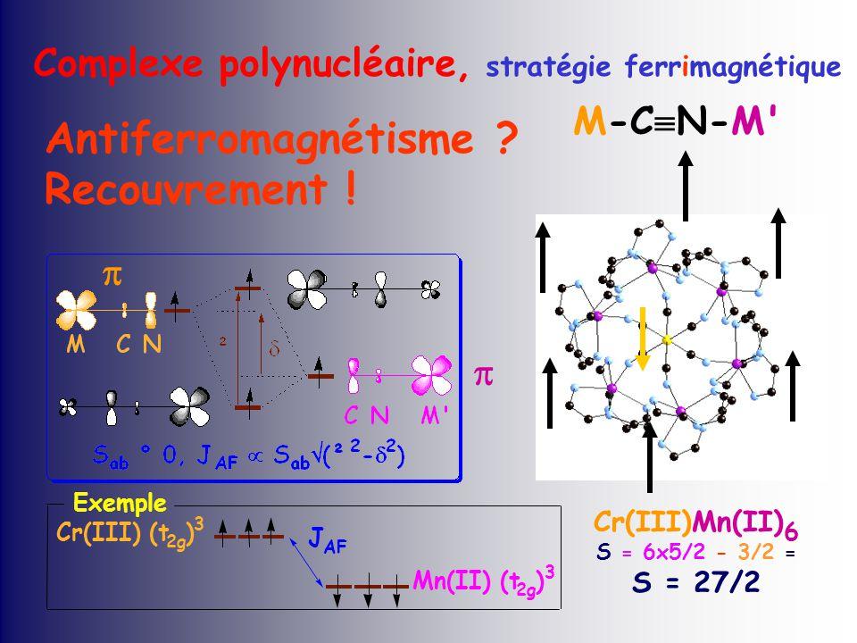 Cr(III)Mn(II) 6 S = 6x5/2 - 3/2 = S = 27/2 Antiferromagnétisme .