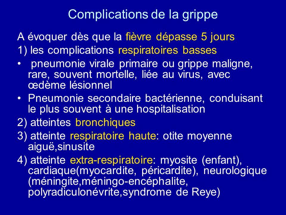 Prévention de la grippe 1) Collective a) mesures dhygiène -protection contre la toux -lavage des mains b) surveillance au niveau national et international 2) Individuelle a) chimioprophylaxie b) Vaccination +++