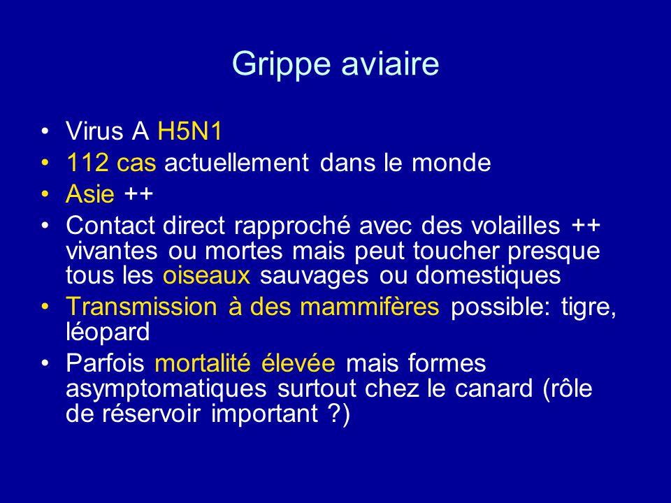 Grippe aviaire Tableau clinique : asymptomatique à tableau grave et mortel Diagnostic anamnèse et contact avec les volailles++ prélèvements pharyngés ou conjonctivaux (culture,PCR, diagnostic direct)