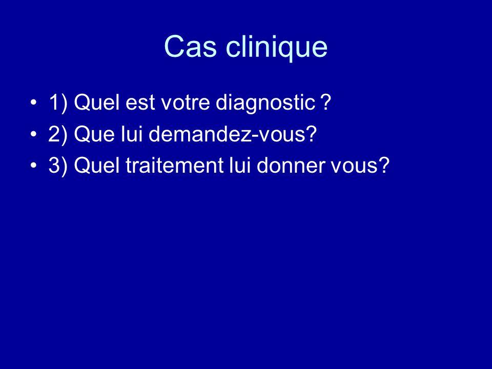 Cas clinique 1) diagnostic: grippe parce que tableau typique...