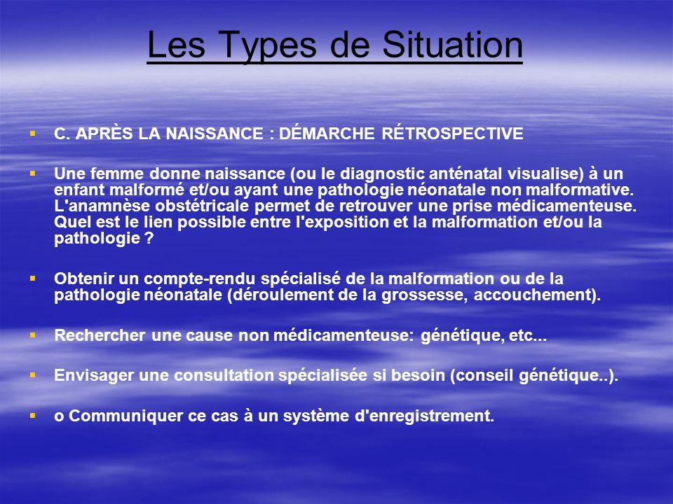 Les Types de Situation C. APRÈS LA NAISSANCE : DÉMARCHE RÉTROSPECTIVE Une femme donne naissance (ou le diagnostic anténatal visualise) à un enfant mal