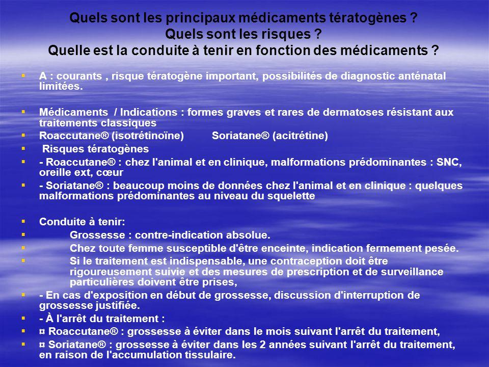 Quels sont les principaux médicaments tératogènes ? Quels sont les risques ? Quelle est la conduite à tenir en fonction des médicaments ? A : courants
