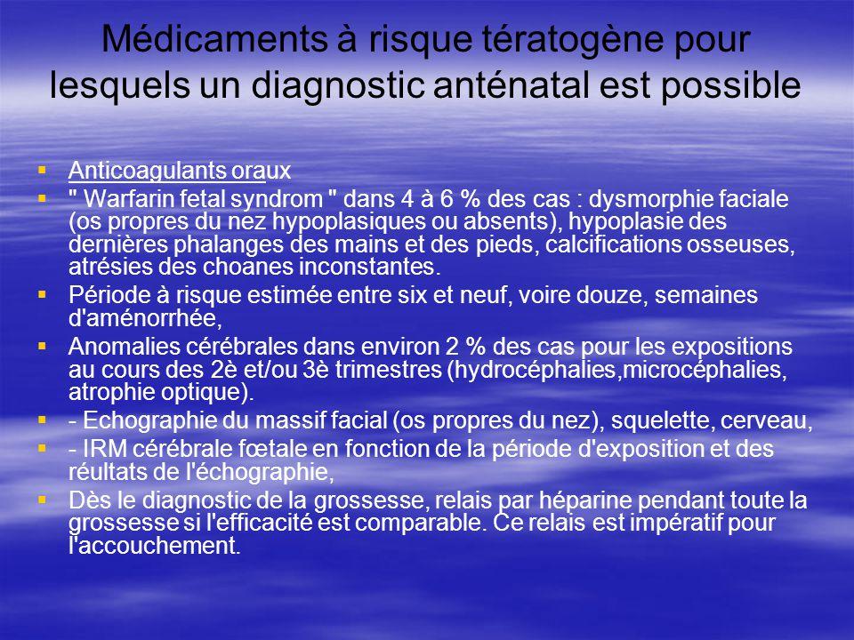 Médicaments à risque tératogène pour lesquels un diagnostic anténatal est possible Anticoagulants oraux