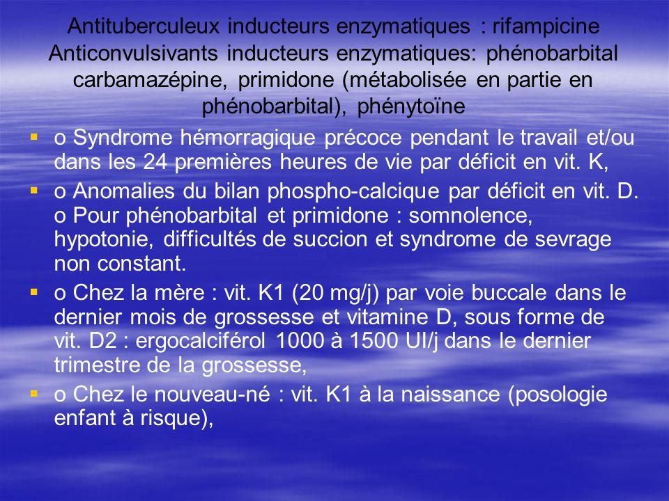 Antituberculeux inducteurs enzymatiques : rifampicine Anticonvulsivants inducteurs enzymatiques: phénobarbital carbamazépine, primidone (métabolisée e