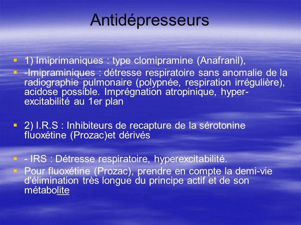Antidépresseurs 1) Imiprimaniques : type clomipramine (Anafranil), -Imipraminiques : détresse respiratoire sans anomalie de la radiographie pulmonaire