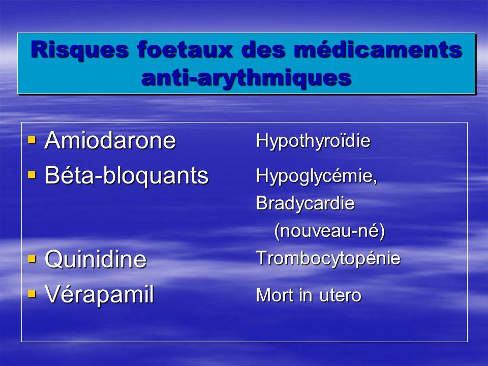 Risques foetaux des médicaments anti-arythmiques Amiodarone Amiodarone Béta-bloquants Béta-bloquants Quinidine Quinidine Vérapamil Vérapamil Hypothyro