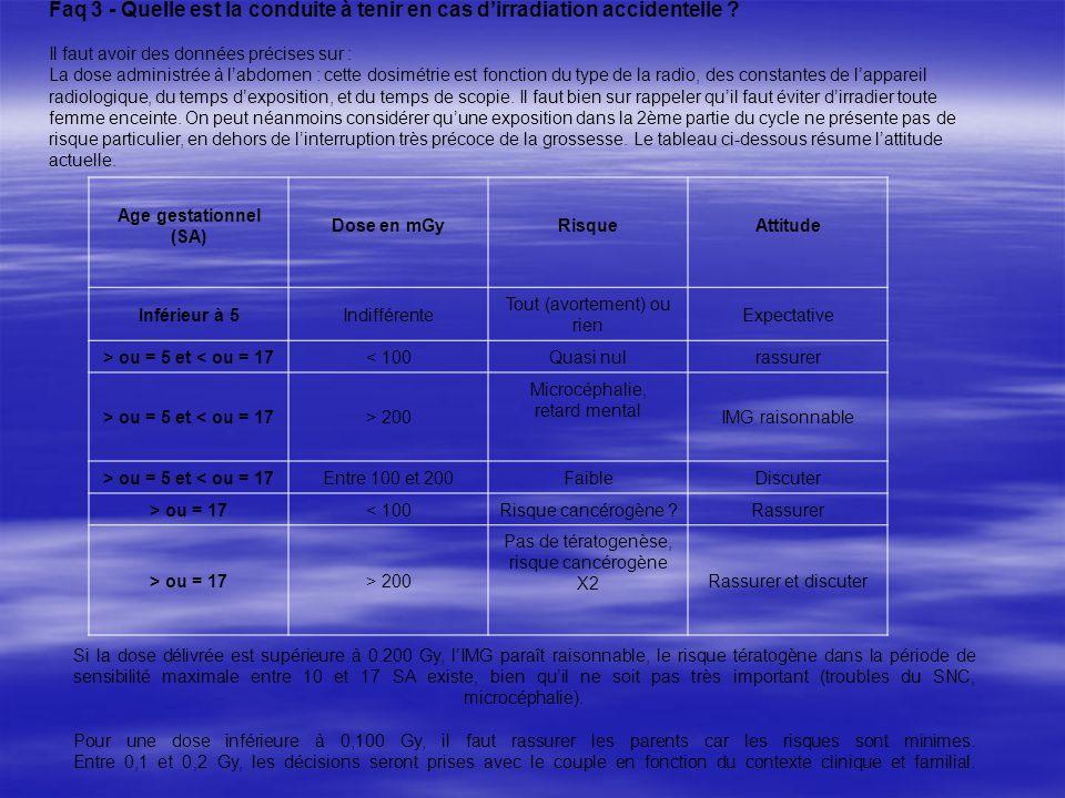 Faq 3 - Quelle est la conduite à tenir en cas dirradiation accidentelle ? Il faut avoir des données précises sur : La dose administrée à labdomen : ce