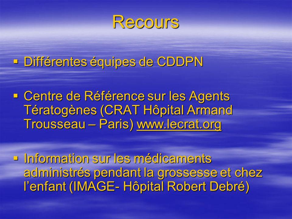 Recours Différentes équipes de CDDPN Différentes équipes de CDDPN Centre de Référence sur les Agents Tératogènes (CRAT Hôpital Armand Trousseau – Pari