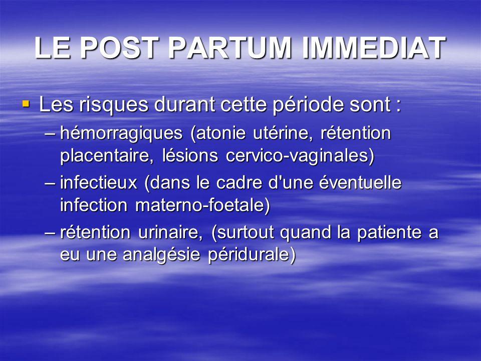 LE POST PARTUM IMMEDIAT Les risques durant cette période sont : Les risques durant cette période sont : –hémorragiques (atonie utérine, rétention plac