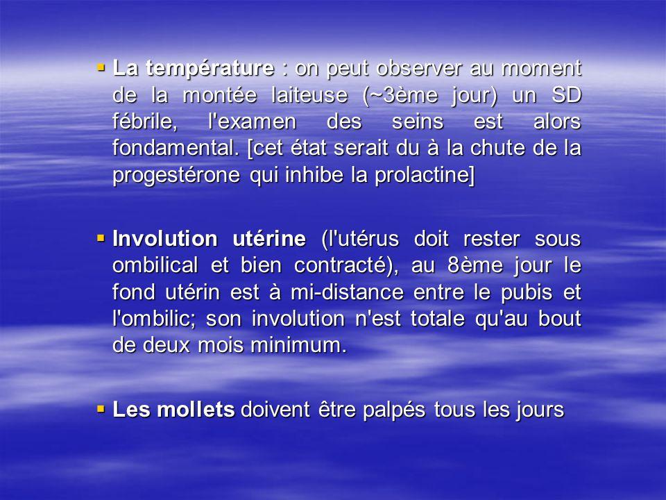 La température : on peut observer au moment de la montée laiteuse (~3ème jour) un SD fébrile, l'examen des seins est alors fondamental. [cet état sera