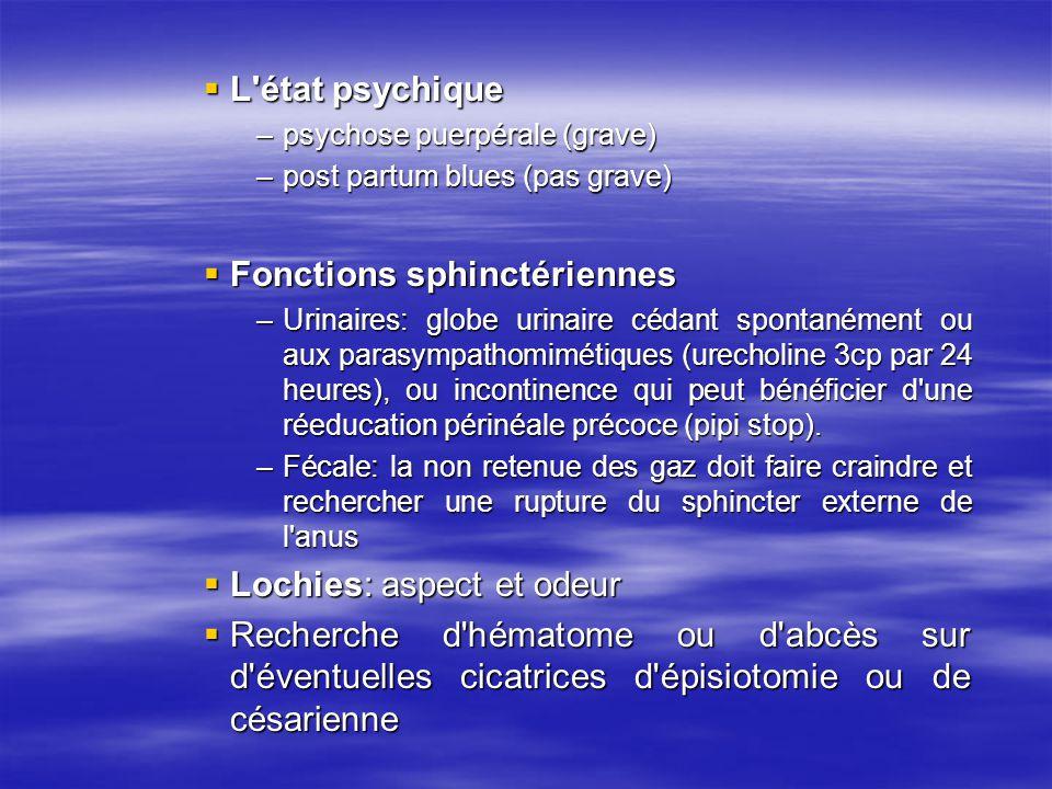 L'état psychique L'état psychique –psychose puerpérale (grave) –post partum blues (pas grave) Fonctions sphinctériennes Fonctions sphinctériennes –Uri