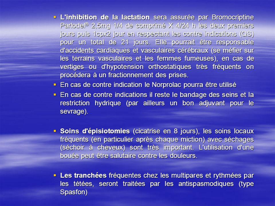 L'inhibition de la lactation sera assurée par Bromocriptine Parlodel ® 2,5mg 1/4 de comprimé X 4/24 h les deux premiers jours puis 1cpx2 jour en respe