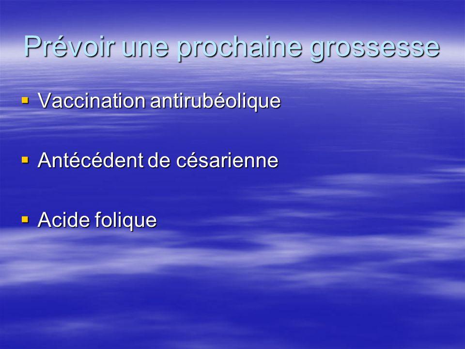 Prévoir une prochaine grossesse Vaccination antirubéolique Vaccination antirubéolique Antécédent de césarienne Antécédent de césarienne Acide folique